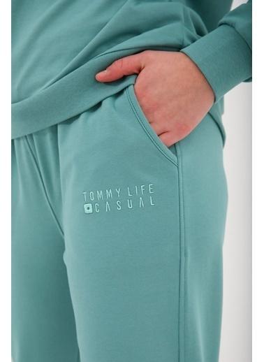 Tommy Life Mint Yeşil Kadın Casual O Yaka Oversize Lastik Paça Eşofman Takımı - 95287 Renkli